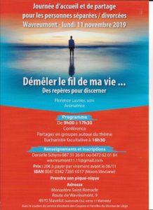Wavreumont 11/11 : Journée pour les personnes séparées, divorcées @ Monastère de Wavreumont